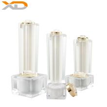 Zhejiang factory wholesale stock 50G 100ML transparent square acrylic lotion bottle empty cosmetics cream jar sets