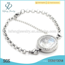 2015 Hot selling 316l stainless steel chains with crystal glass locket, cheap bracelet