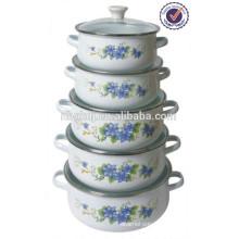 5PCS heathly save oil high quality enamel casserole