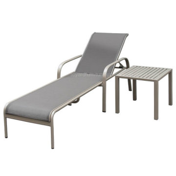 American Garden Daybed avec table basse en coton Taupe Aluminium Sling for Hotel Outdoor Deck