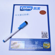 Útil fácil de limpiar papel plano placa de escritura magnética con marca pluma