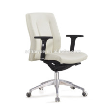 Haiyue Furniture Hot Selling Ergonomic mid back PU Leather office chair meeting chair boss chair with aluminum base