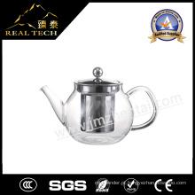 New Drinkware Resistente ao calor Pyrex Handle Teapot de vidro com pistão de aço inoxidável