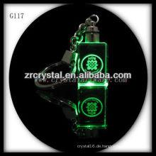 LED-Kristall-Schlüsselanhänger mit 3D-Laser graviert Bild innen und leer Kristall Schlüsselanhänger G117