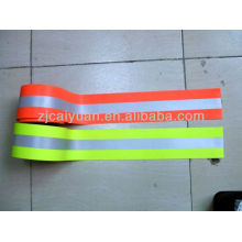 fire retardant reflective tape fluo-red, yellow, silver