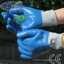 NMSAFETY cut resistant and chemical resistant blue gloves