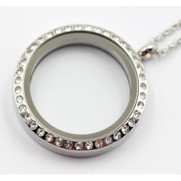 30mm Rd Floating Locket Pendant with Stones