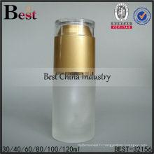 Bouteille vide de cosmétique en verre dépoli de 30ml avec la pompe, bouteilles vides d'emballage, bouteille cosmétique de lotion de soin de peau