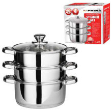 Amazon Vendor 24cm 4PC Steamer Cooker Pot Set Stainless Steel