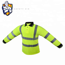 New design high visibility security fluorescent safety green basic long sleeve t shirt