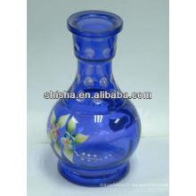 Vase en verre coloré de narguilé, bouteille de shisha meddium main peinture, verre de narguilé