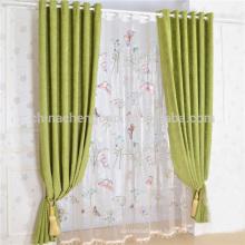 China Cortina moderna del grano de la mariposa Cortina verde del lino para la sala de estar