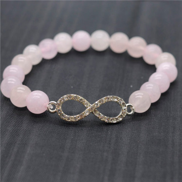 Rose Quartz 8MM Round Beads Stretch Gemstone Bracelet with Diamante 8-shape Piece