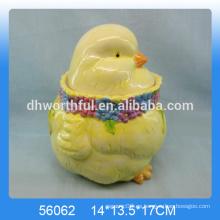 Cutely frasco de almacenamiento de cerámica con la estatuilla de gallo