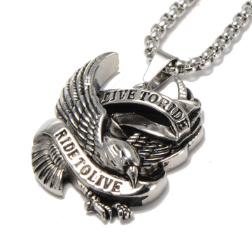 Kepribadian Punk Style pria Stainless Steel Eagle Pendant