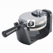 Rotary waffle maker, cool touch handle and auto-lock clip