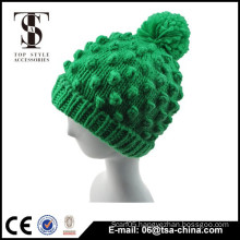 Solid color pom pom knitting Fashion winter hat for young girl