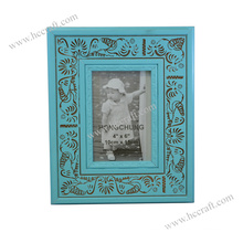 Blue Wooden Photo Frame for Home Deco