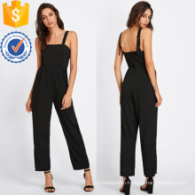 Black Adjustable Strap Button Back Jumpsuit OEM/ODM Manufacture Wholesale Fashion Women Apparel (TA7011J)