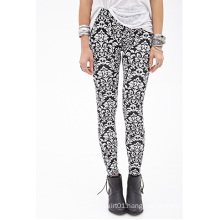 Damask Print Leggings with Elasticized Waist