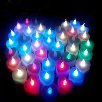 Flameless Heart-Shaped Tealight mum LED ile