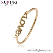51867 Simple conception lettre style dames bijoux AMOUR forme bracelet bracelet en plaqué or 18k pour la vente en gros