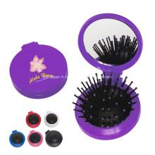 Brosse à cheveux compacte promotionnelle avec miroir