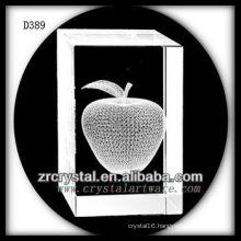 K9 3D Laser Subsurface Apple Inside Crystal Rectangle