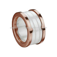 Unique Jewelry Rose Gold Plating Tungsten And Ceramic Ring