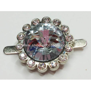 Silver and Rhinestone Shoe Clips 2.5mm