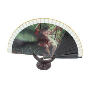 promoción y tela decorativa ventilador de mano grande