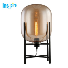 Modern Smoke Grey Glass Bed Side Table Lamps Led Table Light