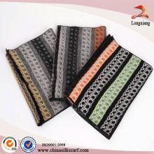 Elegante bufanda de seda pashmina de otoño y invierno con borlas