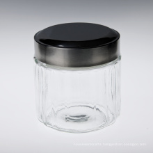 Glass Food Container with Black Lid