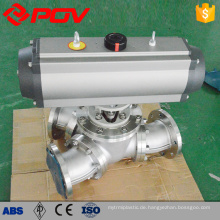 Three way stianless steel flanged type ball valves t type