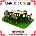 Perschool Solid Wood Surface Table with Adjustable Stainless Steel Legs