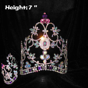 Coronas de concurso de cristal AB de 7 pulgadas con diamantes de color rosa púrpura
