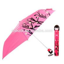 2018 nuevo paraguas de regalo de promoción, paraguas de muñeca japonesa, paraguas de práctica barata