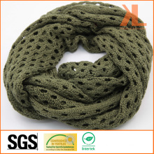 Acrylic Fashion Quality Olive Small-Holed Hollow Knitted Neck Scarf