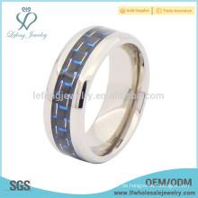 Fashion Silber hoch poliert Rand mit Carbonfaser Titan Ring Schmuck