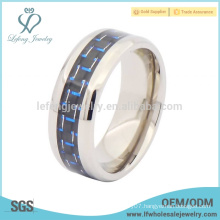 Fashion silver high polished edge with carbon fiber titanium ring jewelry
