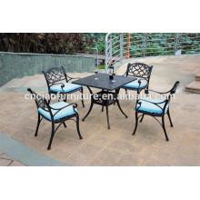 Mesa cuadrada y sillas KD muebles de balcón de aluminio