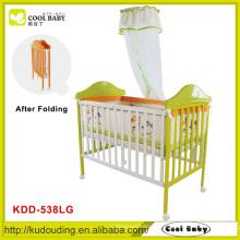 2015 NEU China Hersteller Stahlrahmen in der Nachahmung von Holz Baby Kinderbett mit Moskitonetz Falten ohne Werkzeuge