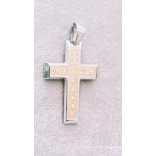 Pendentif de croix en cristal de bijoux en acier inoxydable catholique religieux de mode pour des hommes