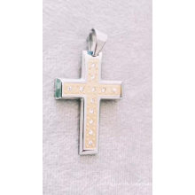 Fashion Catholic Religious Stainless Steel Jewelry Crystal Cross Pendant For Men