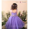 XXLF193 V neck children latest dress style spanish flower light purple flower girl dress