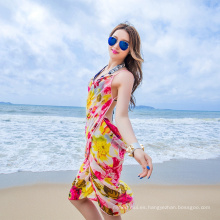 Maravilloso elegante sarong bali cubrir pañuelo de la gasa playa colorida pareo