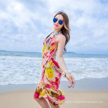 Maravilhoso elegante bali sarong encobrir lenço chiffon colorido praia pareo