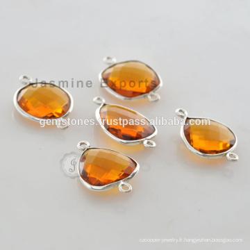Wholesale Citrine Quartz Silver Bezel Gemstone Connector Fournisseurs
