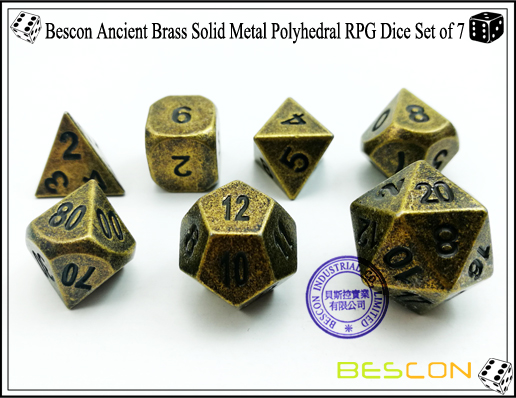 Bescon Ancient Brass Solid Metal Polyhedral RPG Dice Set of 7-4
